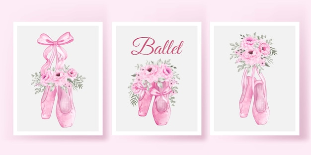 Shoes ballerina poster with rose pink watercolor set