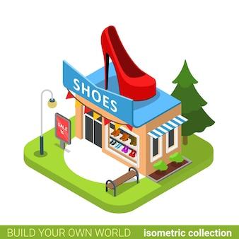신발 부츠 패션 부티크 상점 신발 모양 건물 부동산 부동산 개념.
