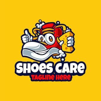 신발 관리 e스포츠 마스코트 만화 로고 벡터 템플릿