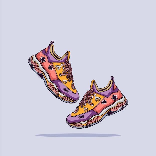 Иллюстрации шаржа обувь. плоский мультяшный стиль