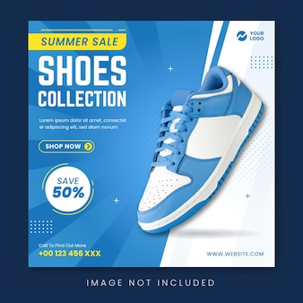 Shoes collection sale social media promotion banner template