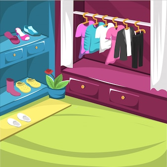 Shoes cupboard and drees room with hanger jacket