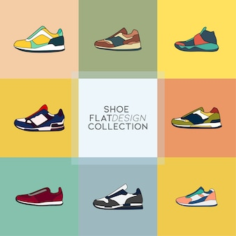 Shoes flat icon collection