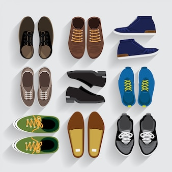 Shoes icons set    style