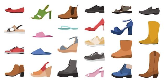 신발. 남성, 여성 및 아동 신발 다양한 유형, 트렌디한 캐주얼, 세련되고 포멀한 신발
