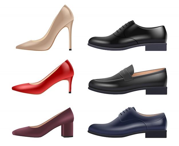 Обувь реалистичная. леди вечерние элегантные роскошные туфли разных стилей и цветов для коллекции витрины
