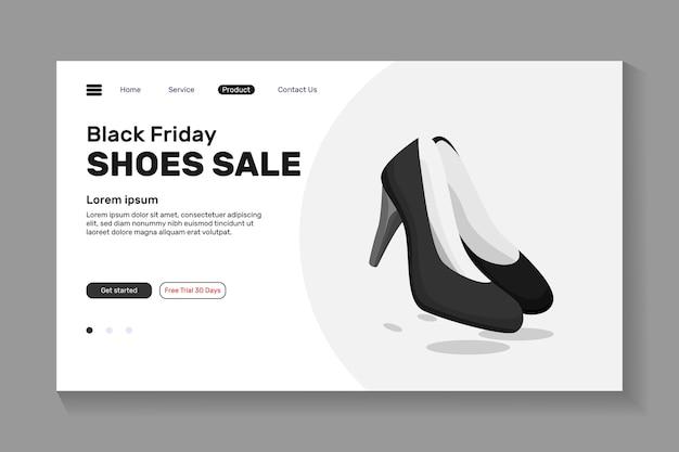 Распродажа обуви, черная пятница дизайн посадочной страницы