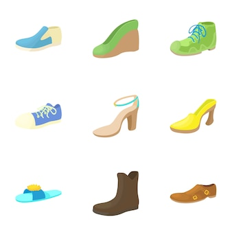 Shoes set, cartoon style