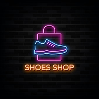 Shoes shop neon signs vector