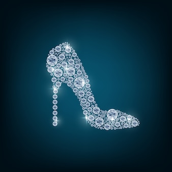 Shoes with concept diamond on the blue background