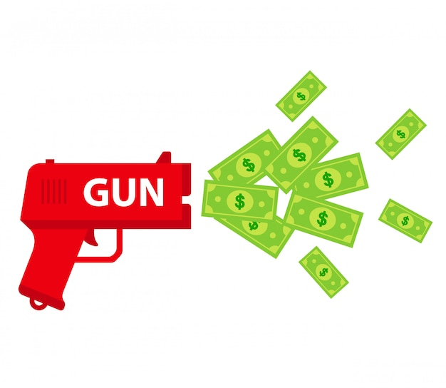 Shoot the toy gun with bills.