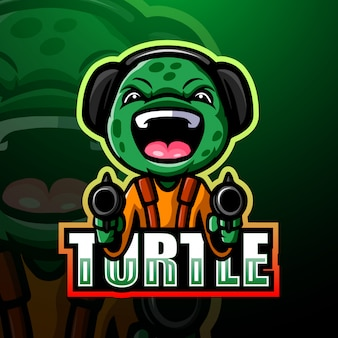 Shooter turtle mascot esport illustration