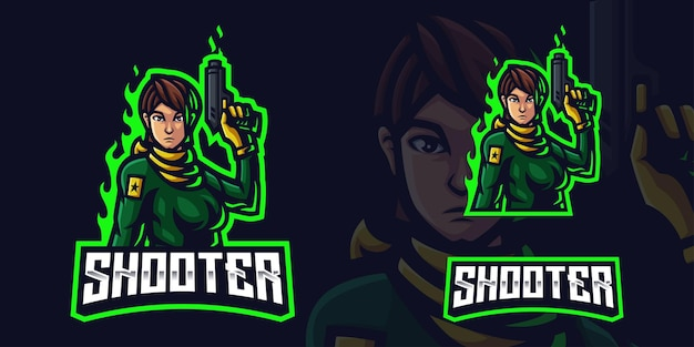 Shooter woman holding gun mascot gaming logo template for esports streamer facebook youtube