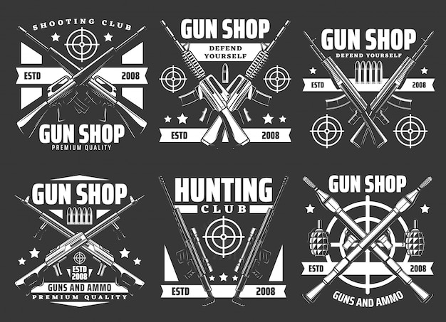 Shooting club, hunting and gun shop icons
