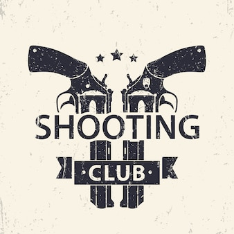 Shooting club logo, sign with two crossed revolvers, handguns,   illustration