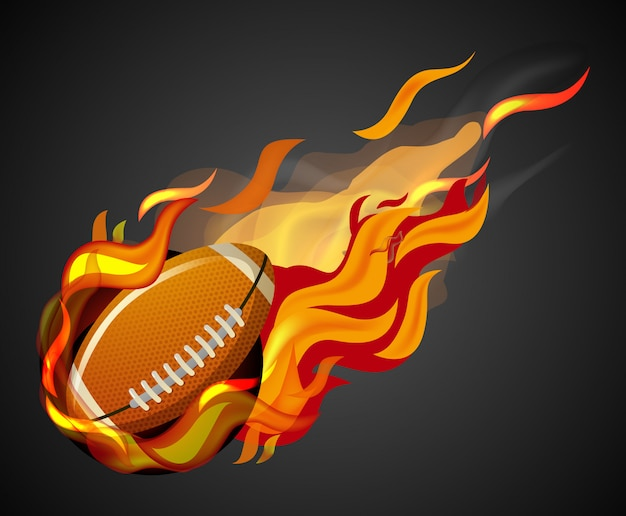 Shooting football with flame on black background
