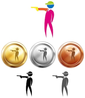 슈팅 아이콘 및 스포츠 메달