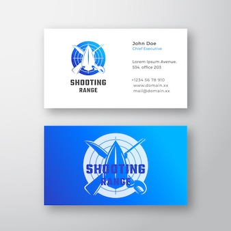 Shooting range abstract vector logo and business card template crossed riffle sword and arrow head s...