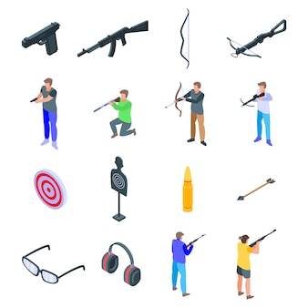 Shooting sport icons set