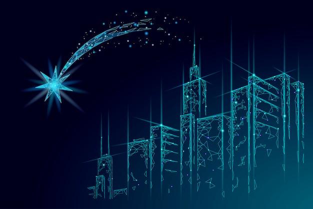 流れ星低ポリスペース夜のクリスマスのシンボル