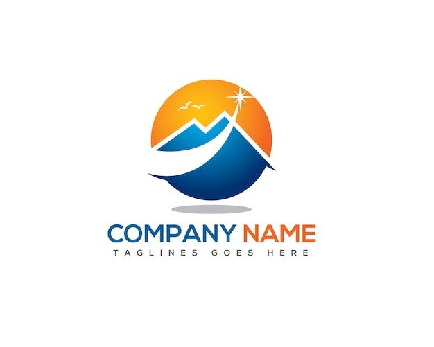 Shooting star above mountain logo template