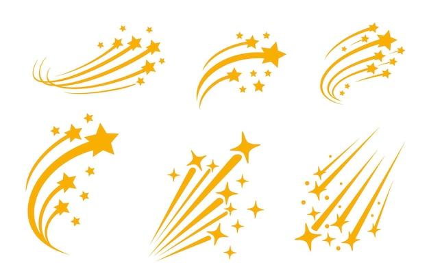 Падающие звезды с хвостами. падение абстрактного