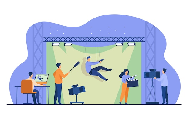 Shooting team filming action scene with stunt falling and holding gun against green backdrop. vector illustration for cinema, moviemaking, casting, stunt man concept