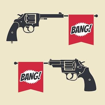 Shooting toy gun pistol with bang flag vector icon