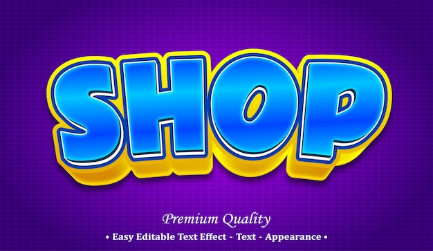 Shop 3d editable text style effect