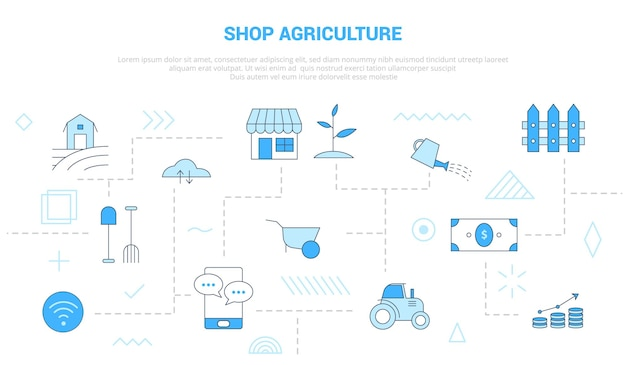Shop agriculture concept with scattered and interconnected icons with blue color