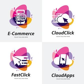 Коллекция shop apps логотип дизайн шаблона