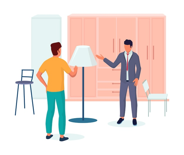 Shop assistant helping shopper to choose lamp for bedroom interior, vector illustration. furniture store retail business