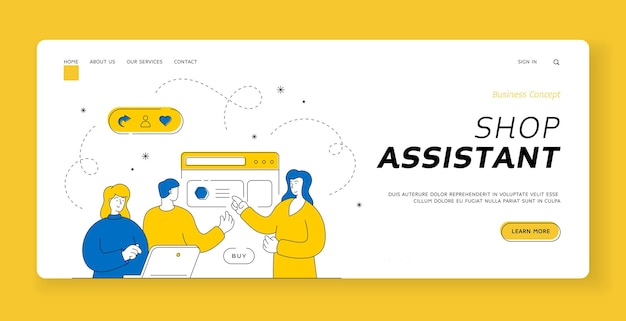 Shop assistant landing page banner template. man and woman browsing website on laptop and choosing goods with help of female assistant while using services of online shop. flat line style illustration