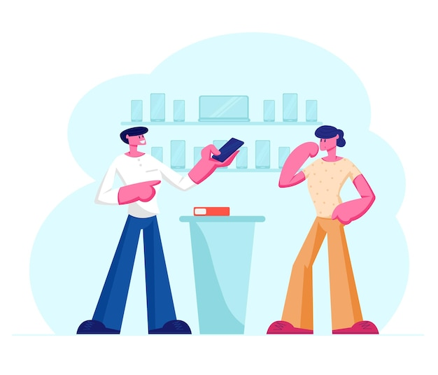 Shop assistant showing smartphone in hand to customer standing at counter desk. cartoon flat  illustration
