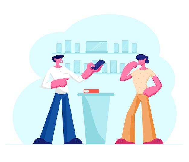 Продавец-консультант показывает смартфон в руке покупателю, стоящему у стойки регистрации. мультфильм плоский рисунок