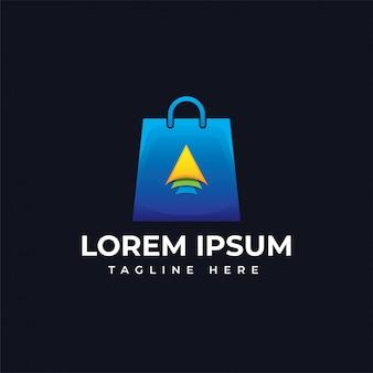 Shop bag with arrow logo template