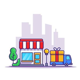 ショップの建物と配達トラックの車の漫画
