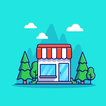 Shop building cartoon icon illustration. business building icon concept isolated . flat cartoon style