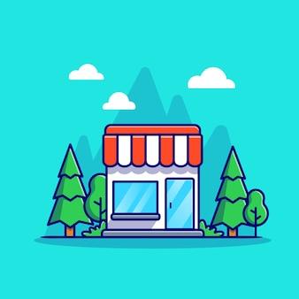 ショップの建物の漫画のアイコンのイラスト。分離されたビジネスビルアイコンの概念。フラット漫画スタイル