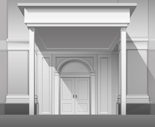 Shop building front with closed door isolated