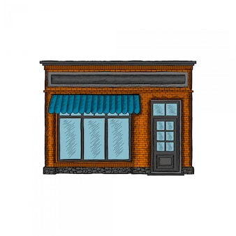Shop building hand drawing
