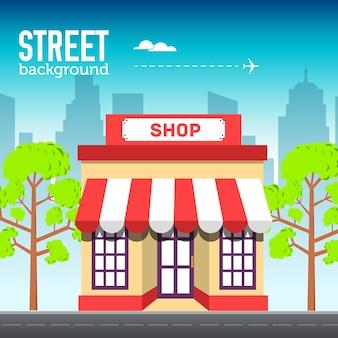 Здание магазина в городском пространстве с дорогой на плоской концепции фона
