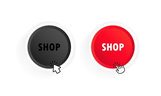 Кнопка магазина с курсором. вектор на изолированном белом фоне. eps 10.