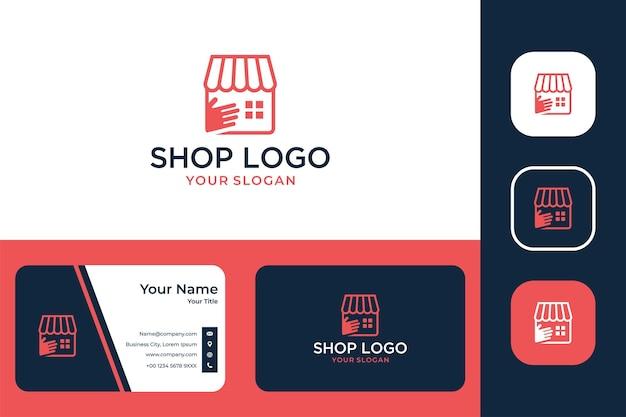 Магазин ухода современный дизайн логотипа и визитной карточки
