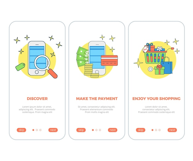 Shop cart product screen application search and payment app