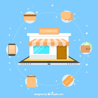 Shop coming out the tablet with shopping icons