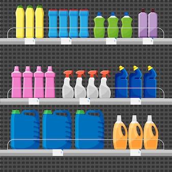 Торговый прилавок или стойло с моющими и чистящими средствами. набор разноцветных бутылок или тары, стиральный порошок