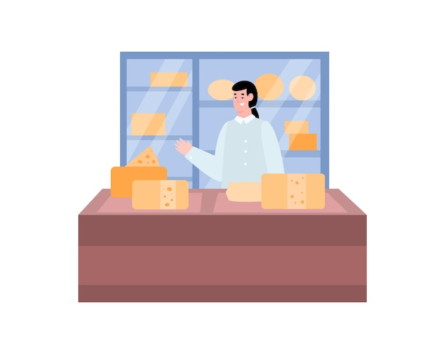 Shop counter with a cheese seller cartoon illustration on white