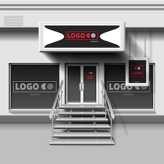 Shop exterior template. 3d storefront with entrance door