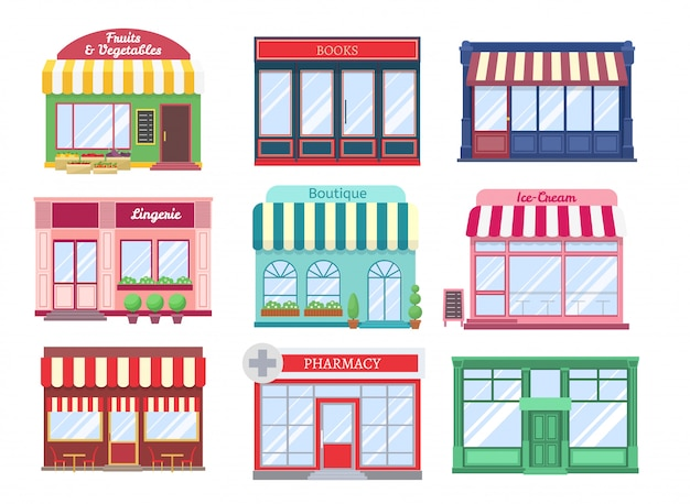Shop flat buildings. modern store facade cartoon boutique street building storefront restaurant houses. shopping isolated set